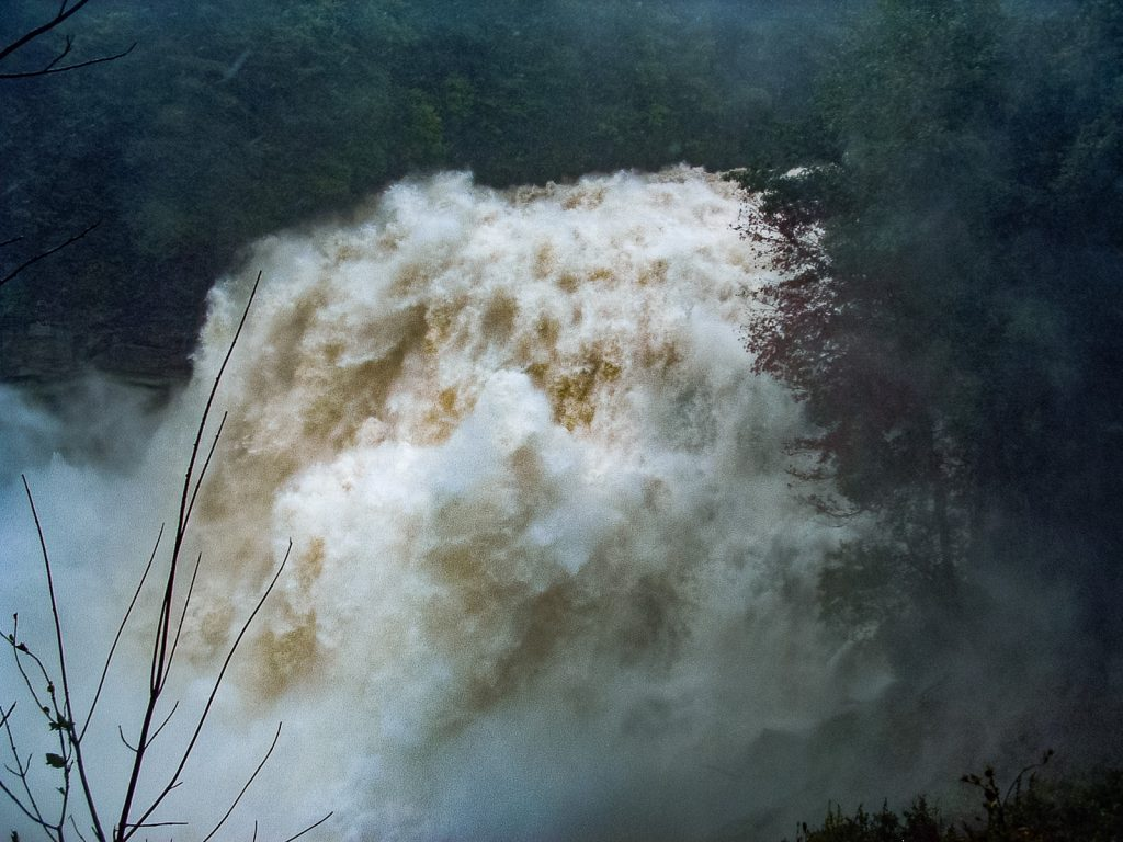 Flooded Rainbow Falls in September 2004. Will area rivers look like this again this weekend?