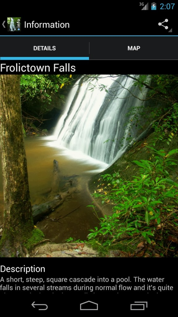 North Carolina Waterfalls Android App Screenshot