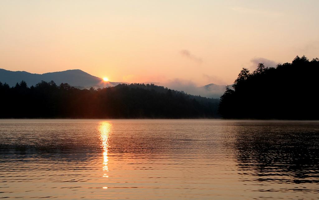 Santeetlah Lake at sunset.