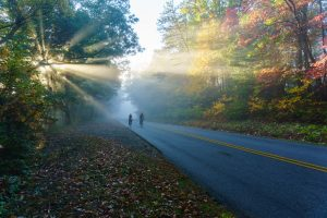 Riders on the Blue Ridge Parkway in Fall