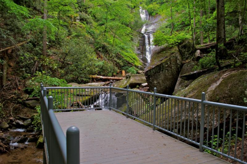 Observation deck at Toms Creek Falls, Pisgah National Forest - USFS photo