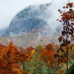 Fog and Fall on Looking Glass Rock