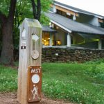 Mountains to Sea Trail Sign Post at the Folk Art Center
