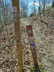 Signs for the Parking Area on Max Patch Loop