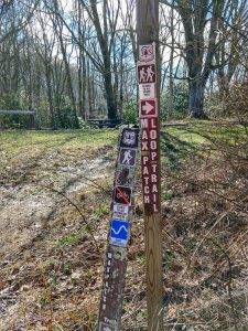 Signs for the Max Patch Loop Trail