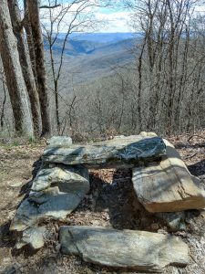Rock Bench and View on the Buckwheat Knob Trail