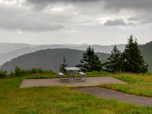 Picnic Table at the Start of the Richland Balsam Trail