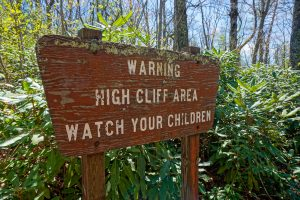 Warning High Cliff Area Watch Your Children